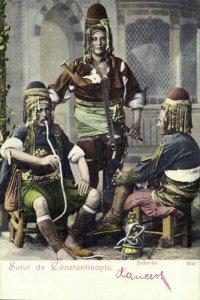 turkey, CONSTANTINOPLE, Group of Armed Zeibeks Zeybeks (1899) Postcard