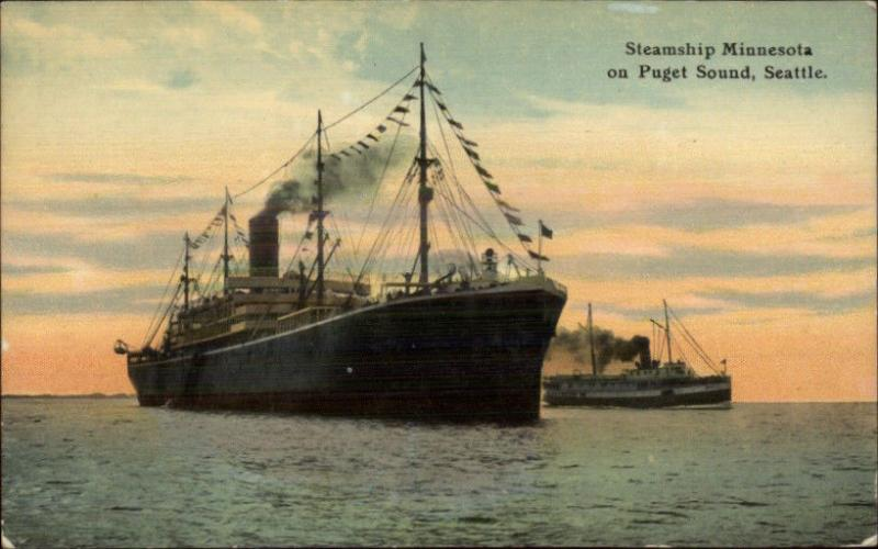 Puget Sound Seattle - Steamship Minnesota c1910 Postcard EXC COND