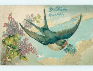 Surface Wear c1910 BEAUTIFUL LARGE DETAILS BIRD CARRYING FLOWERS HL6062