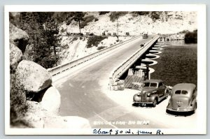Big Bear California~Highway Bridge Atop Dam~Viewing Platform~1930s Cars~RPPC
