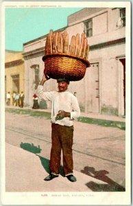 Vintage 1900s CUBA Postcard Bread Man, HAVANA Street Scene Detroit Pub. #8268