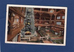 Old Faithful Inn Lobby Postcard Yellowstone National Park Wyoming, Interior View