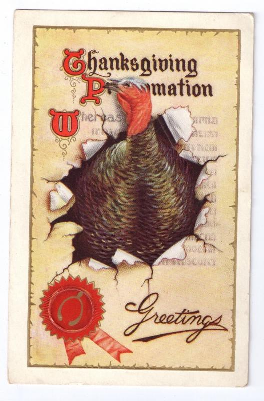 Thanksgiving Postcard Turkey Proclamation Gold Gilding Vintage 1912 Embossed