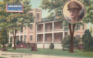 Little Rock, AR, General MacArthur Birthplace, Linen Vintage Postcard f9723