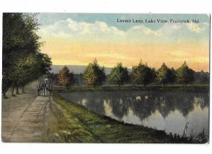 Lovers Lane Lake View Fredrick Maryland Man Horse & Cart
