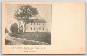 Danville New Hampshire~Dirt Road Past Old Meeting House~1906 B&W  Postcard