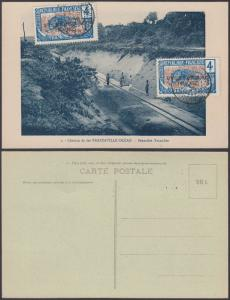 French Equatorial Africa 1925 Used stamps on postcard ( Railway ) ( Chemin de...