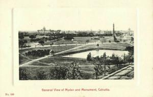 india, CALCUTTA KOLKATA, View of Mydan and Monument (1910s) Embossed Postcard