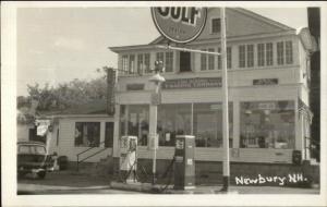 Newbury NH Gulf Gas Station Lake Sunapee Trading Co Sign Real Photo Postcard