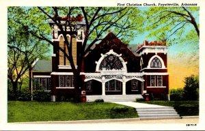 Arkansas Fayetteville First Christian Church Curteich