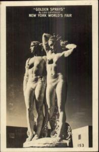 1939 New York World's Fair Golden Sprays Sculpture by Leo Lentelli RPPC