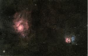 Lagoon & Trifid Nebulae in Constellation of Sagittarius (Astronomy)
