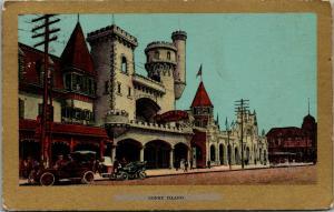 Coney Island NY~Rocky Road to Dublin Castle~Early c1906 Automobiles~Gold Border