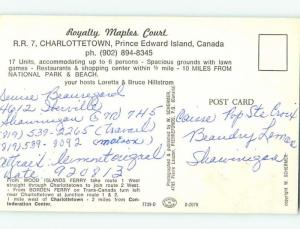 Pre-1980 ROYALTY MAPLES COURT MOTEL Charlottetown Prince Edward Island PE o0549