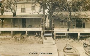 Battle Lake Minnesota~Camp Corliss Bungalows & Boats~Real Photo Postcard 1913