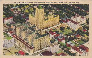 Air view of General Motors, Fisher Bldg, and Art Center Bldg., Detroit, Michi...