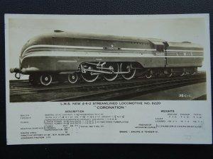 L.M.S. London Midland & Scotland Railway CORONATION 4-6-2 Loco 6220 Old Postcard