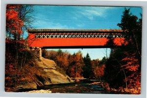 East Arlington Vermont, Colorful Old Covered Chiselville Bridge, Chrome Postcard