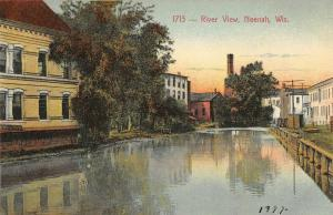 Neenah Wisconsin~River View~Buildings Both Sides~Smoke Stack~c1910 Postcard