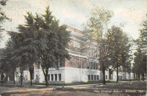 Elkhart Indiana~New Central School (Corner View from Unpaved Street)~1909 Pc