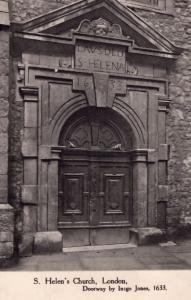 St Helens Church London 1633 Doorway Antique Postcard