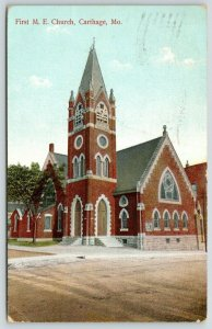 Carthage Missouri~First Methodist Episcopal ME Church~1909 Postcard