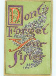 Pre-Linen DON'T FORGET YOUR SISTER - IN BIG LETTERS AC4793
