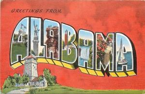 Alabama~State Large Letter Linen Postcard~Vulcan Iron Man Statue~Sailboat~U of A