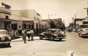 RPPC PIEDRAS NEGRAS Coahuila, Mexico Calle Zaragoza ca 1940s Vintage Postcard