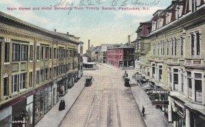 PAWTUCKET, Rhode Island, PU-1912; Main Street And Hotel Benedict From Trinity Sq