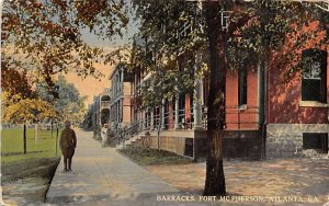 Military Post Card Barracks at Fort McPherson Atlanta, Georgia, USA 1917
