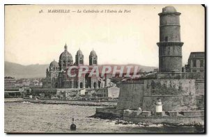 Postcard Old Marseille The Cathedral and the Port of Entry