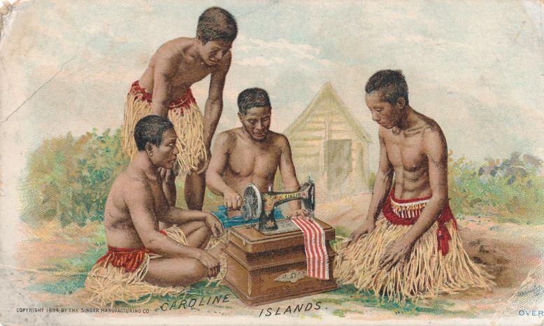 Victorian Trade Card 1894 Singer Sewing Machine Caroline Islands now Micronesia