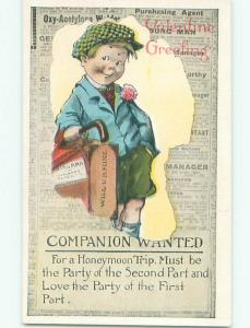 Pre-Linen valentine BOY WITH UMBRELLA AND SUITCASE IN CLASSIFIEDS W7295-12