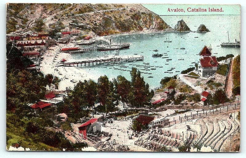 Postcard CA Catalina Islands Avalon Pre 1920's View