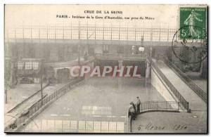 Crue of the Seine Paris Old Postcard Interior of the train station & # 39Aust...