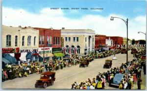 Rocky Ford Colorado Postcard Street Scene Military Jeeps Fair Day Parade Linen
