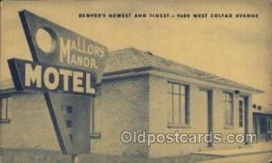 Mallory Manor Motel Denver Colorado USA, Hotel Postcard Postcards  Mallory Ma...