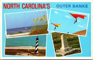 Outer Bank NC 4 VIEWS Kite Beach Lighthouse Bird View Plastichrome POSTCARD