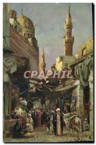 Old Postcard Orientalism Street in Cairo Egypt Egypt