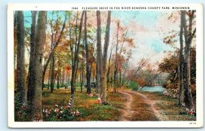 Pleasure Drive Fox River Kenosha County Park Wisconsin Vintage Postcard D58