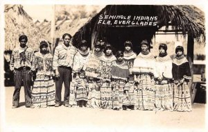 Everglades Florida Seminole Indians Real Photo Vintage Postcard JF686312