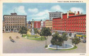 Public Square Watertown New York linen postcard