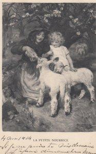 Motor & Daughter feeding baby lambs , 1904