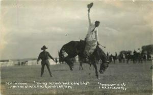 Cowboy Doubleday Douglas Wyoming State Fair Rodeo RPPC Photo Postcard 3326