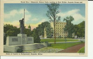 Augusta, Maine, World War 1 Memorial, Dome of Capital in Background