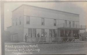E23/ Camas Hot Springs Montana Mt Photo RPPC Postcard c1910 Headquarters Hotel