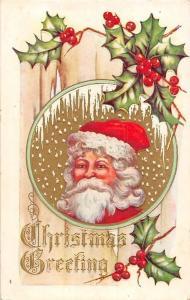 Santa Claus Father Christmas Xmas embossed fantasy card mistletoe postcard