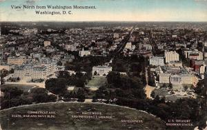 US D.C. View North from Washington Monument, White House, Sherman Statue