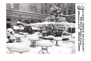 Jacques French Restaurant Chicago IL Outdoor Dining Pation Winter Snow Postcard